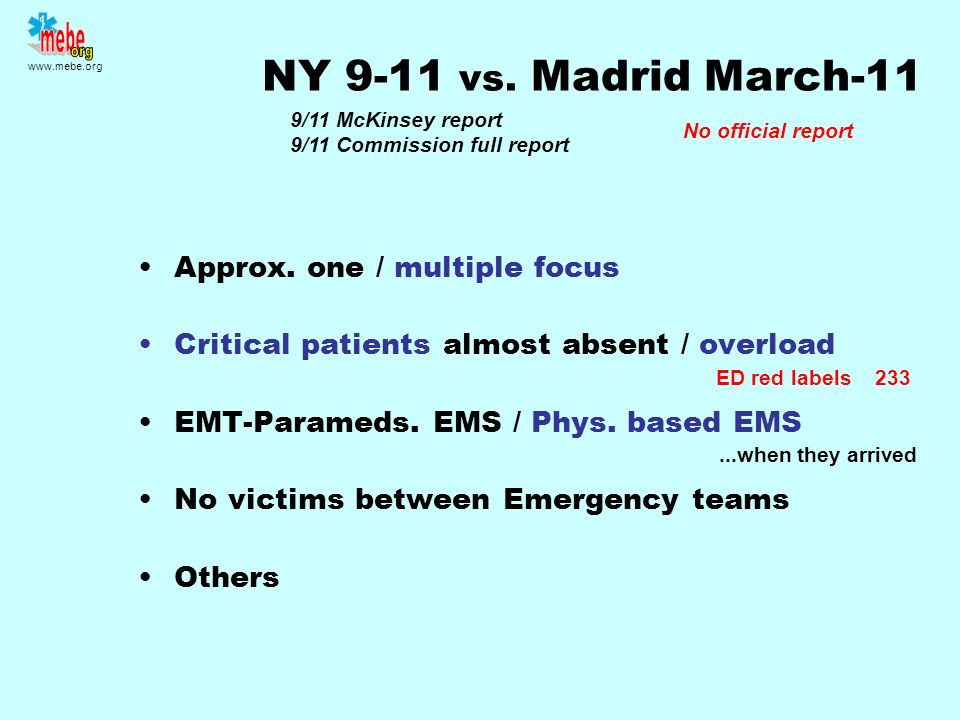 NY 9-11 vs. Madrid March-11 Approx. one / multiple focus