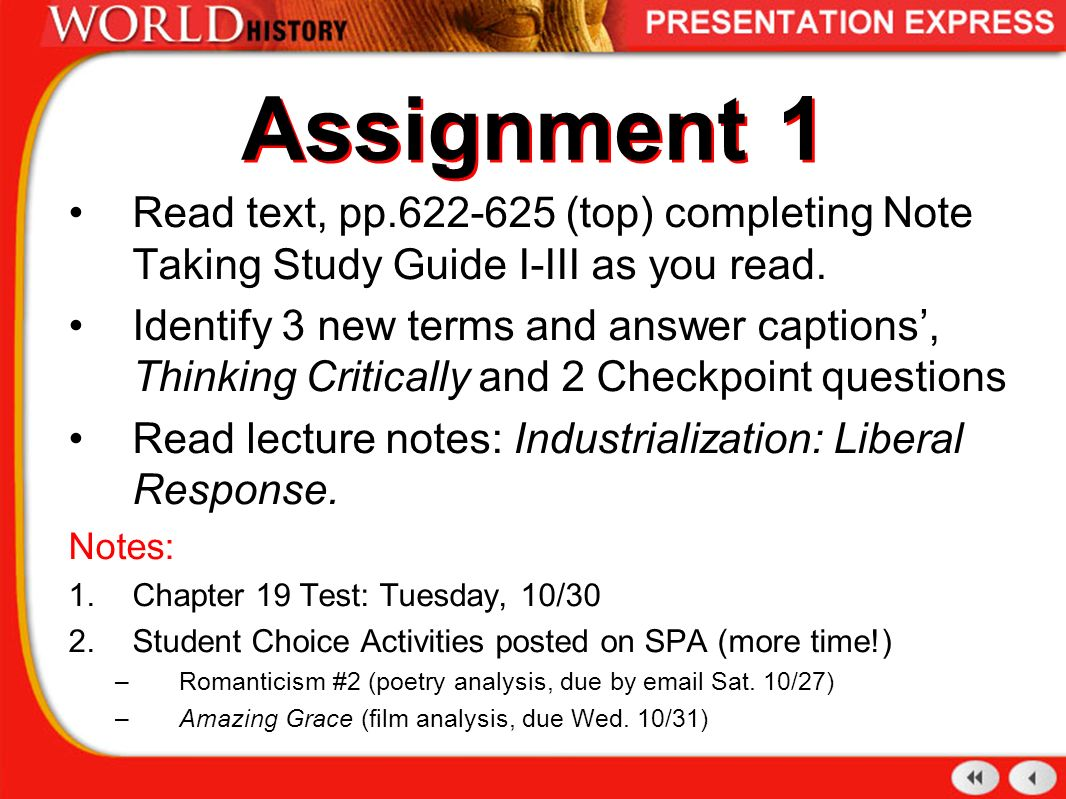Assignment 1 Read text, pp (top) completing Note Taking Study Guide I-
