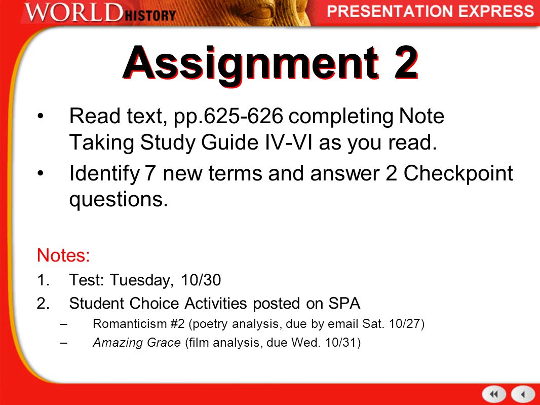 Assignment 2 Read text, pp completing Note Taking Study Guide IV-VI as you
