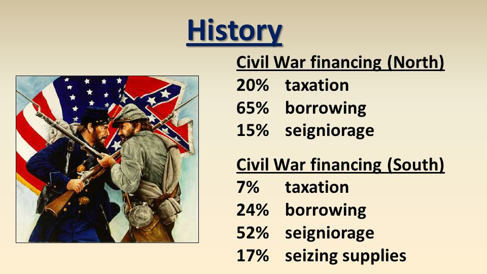 History Civil War Financing North 20 Taxation 65 Borrowing