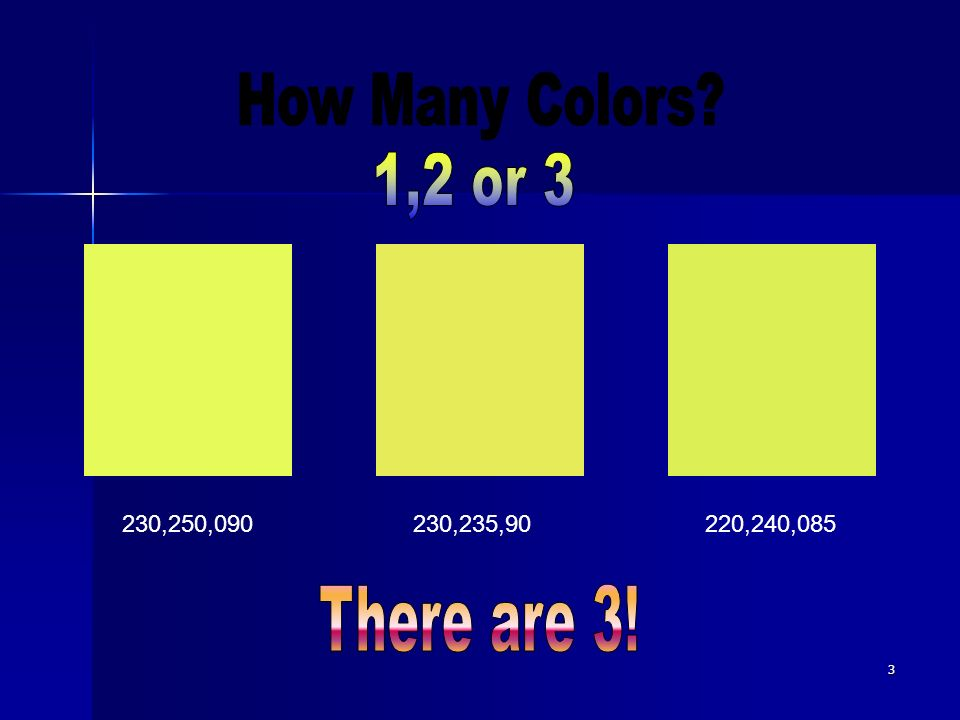 How Many Colors 1,2 or 3 There are 3! 230,250,090 230,235,90