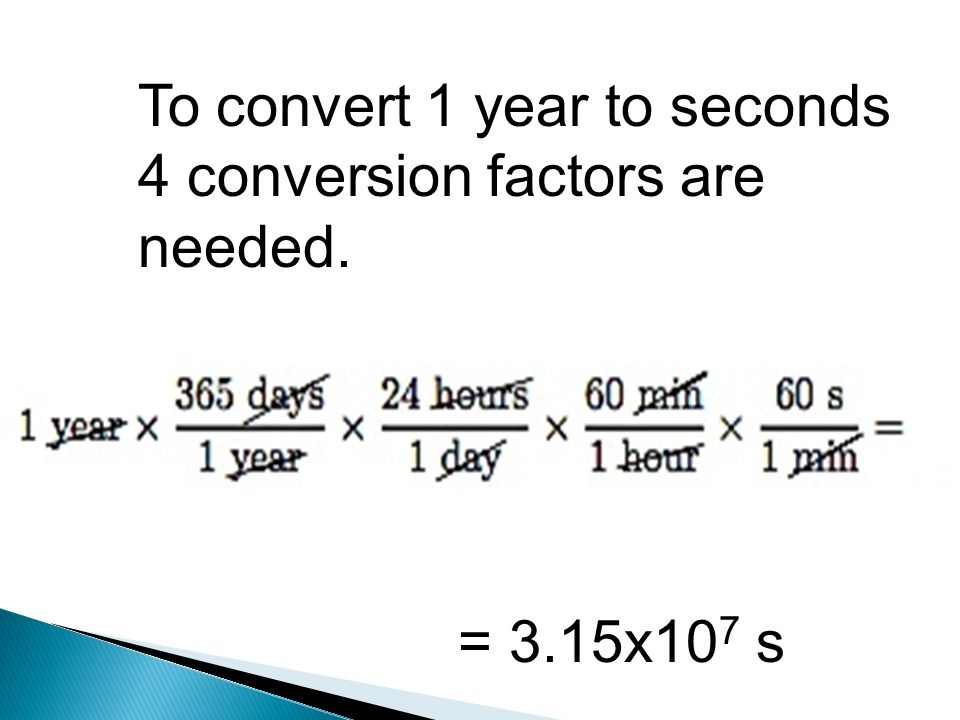 To Convert 1 Year Seconds 4 Conversion Factors Are Needed