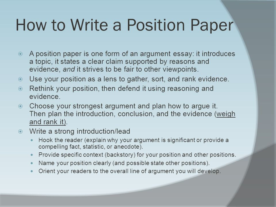 good topics for a position argumentative essay