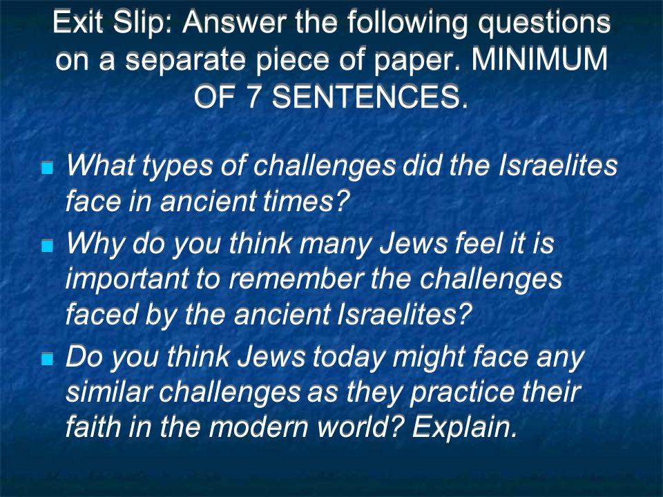 challenges israelites faced