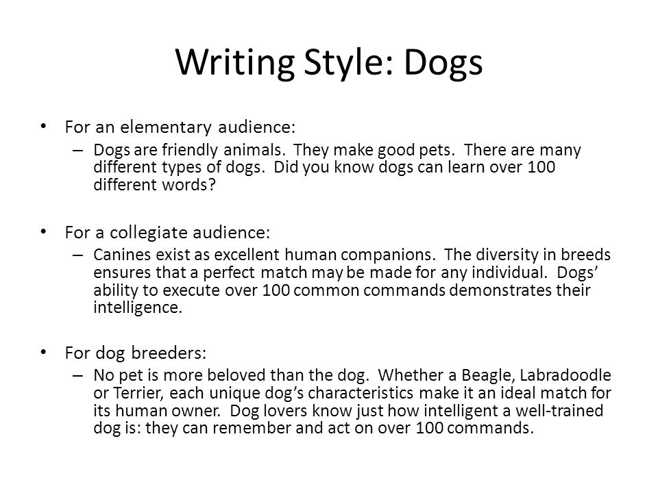 Audience And Writing Style