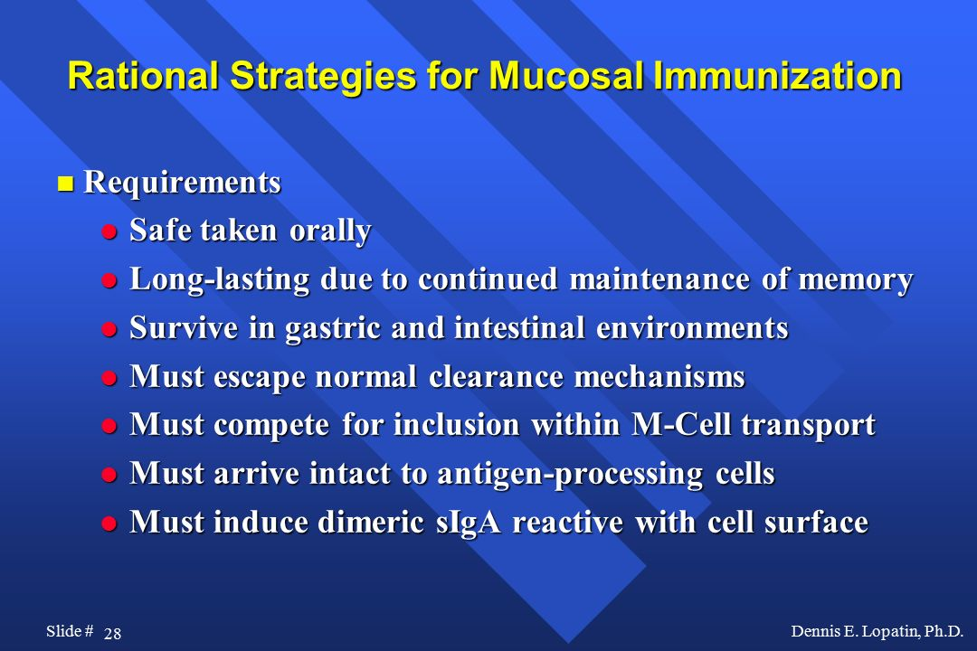 Rational Strategies for Mucosal Immunization