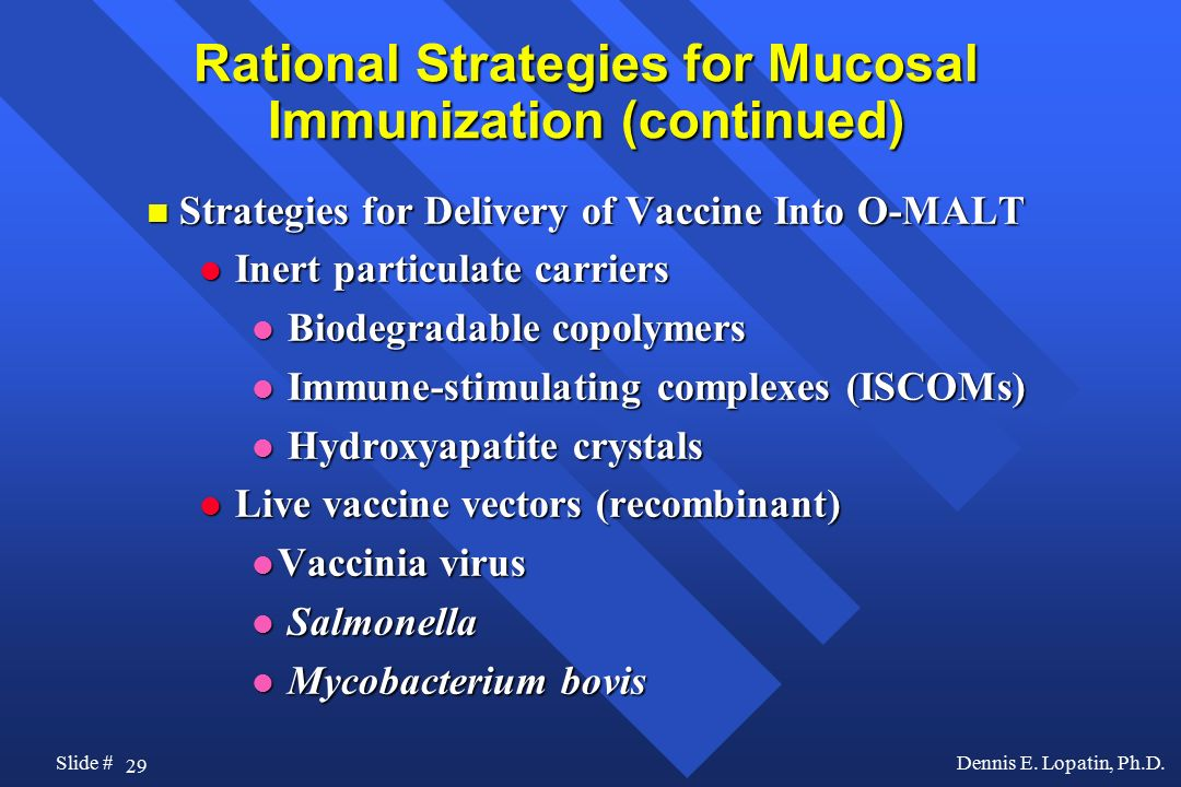Rational Strategies for Mucosal Immunization (continued)