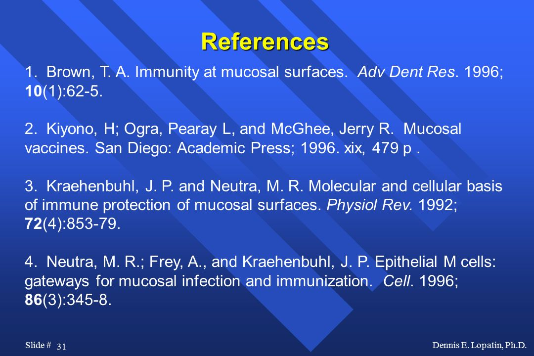 References 1. Brown, T. A. Immunity at mucosal surfaces. Adv Dent Res. 1996; 10(1):62-5.