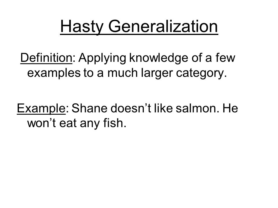 Example Of Hasty Generalization Choice Image Example Cover Letter