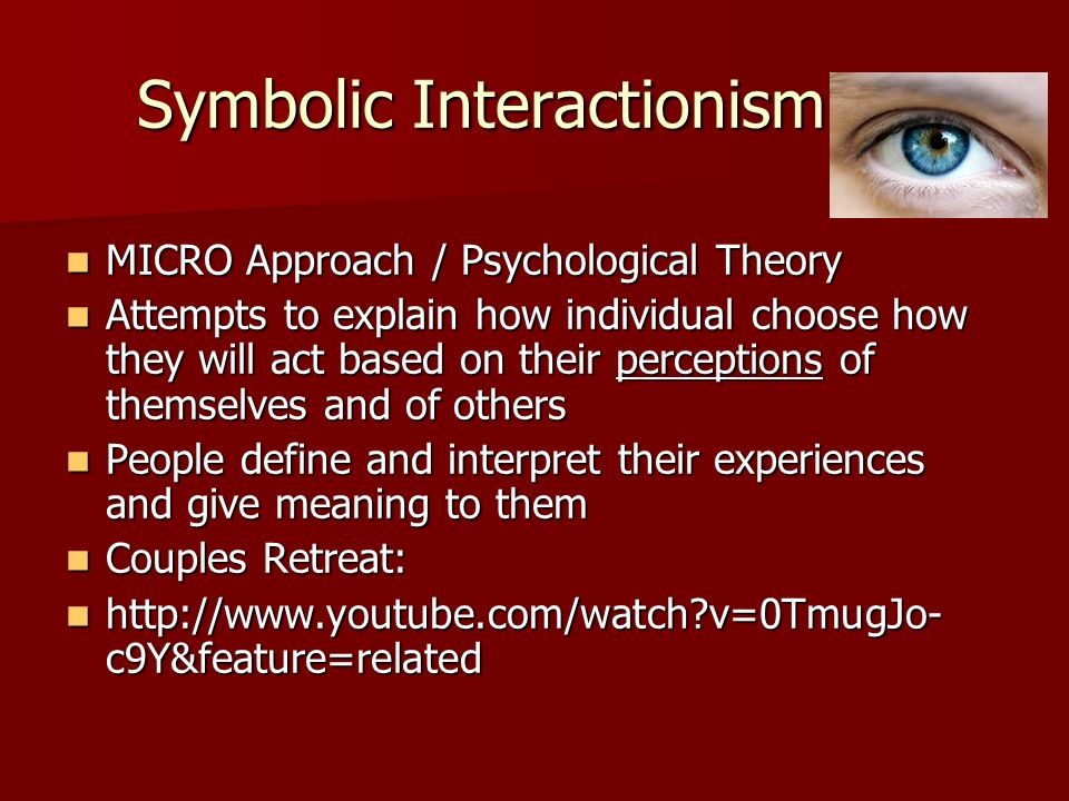 symbolic interactionist research paper Symbolic interactionism focuses on the analysis of the symbolic aspects of social interactions the basic principle of interactionism is that an individual perceives (estimates) behave in accordance with attitudes of other people, that is, a person is for himself the one, whom he presents to others in the social world.