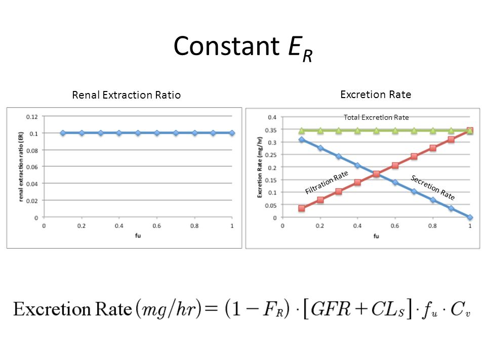 Constant ER Renal Extraction Ratio Excretion Rate Total Excretion Rate