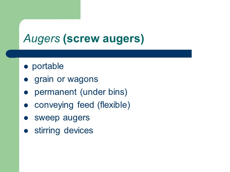 Augers, Hp & Adjustments - ppt download