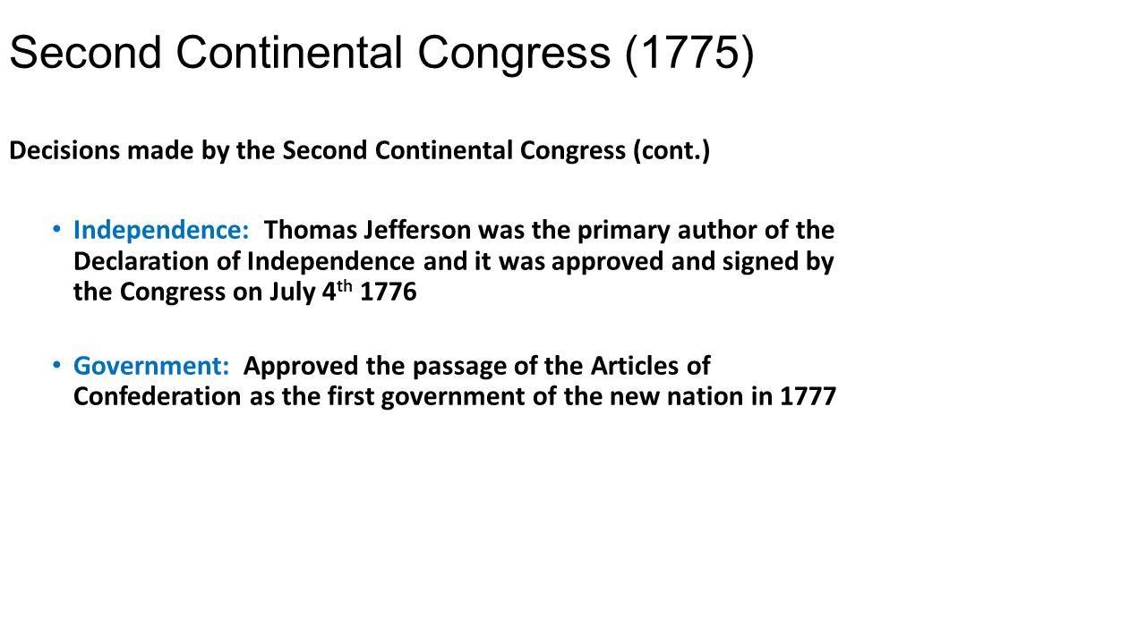 Workbooks thomas jefferson worksheets : Second Continental Congress - ppt video online download