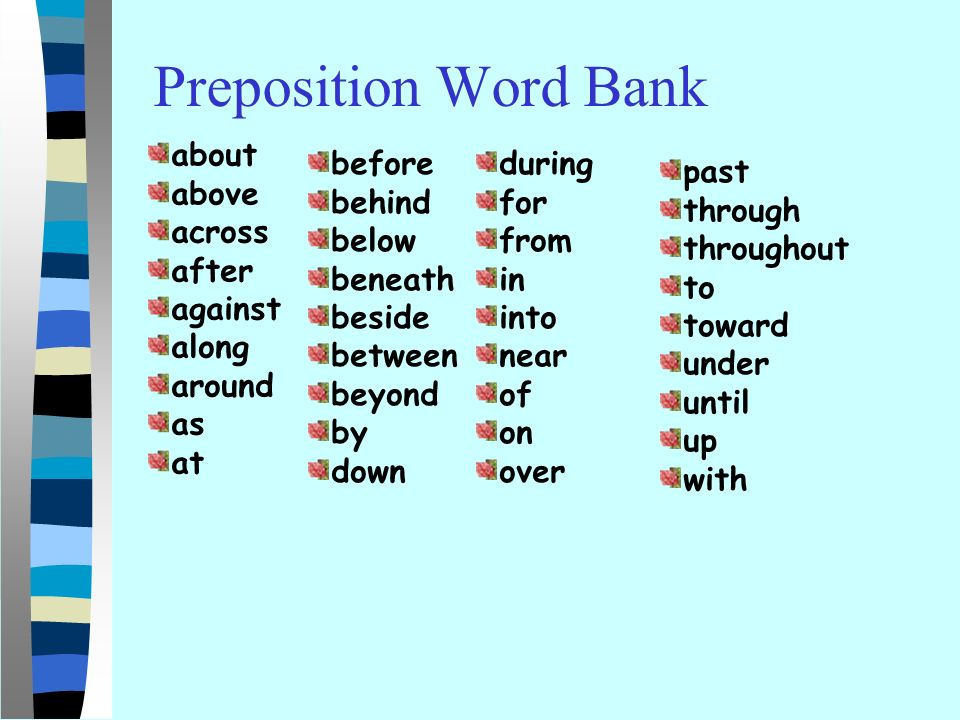 Using Prepositions Words That Link A Noun Or A Pronoun To Another