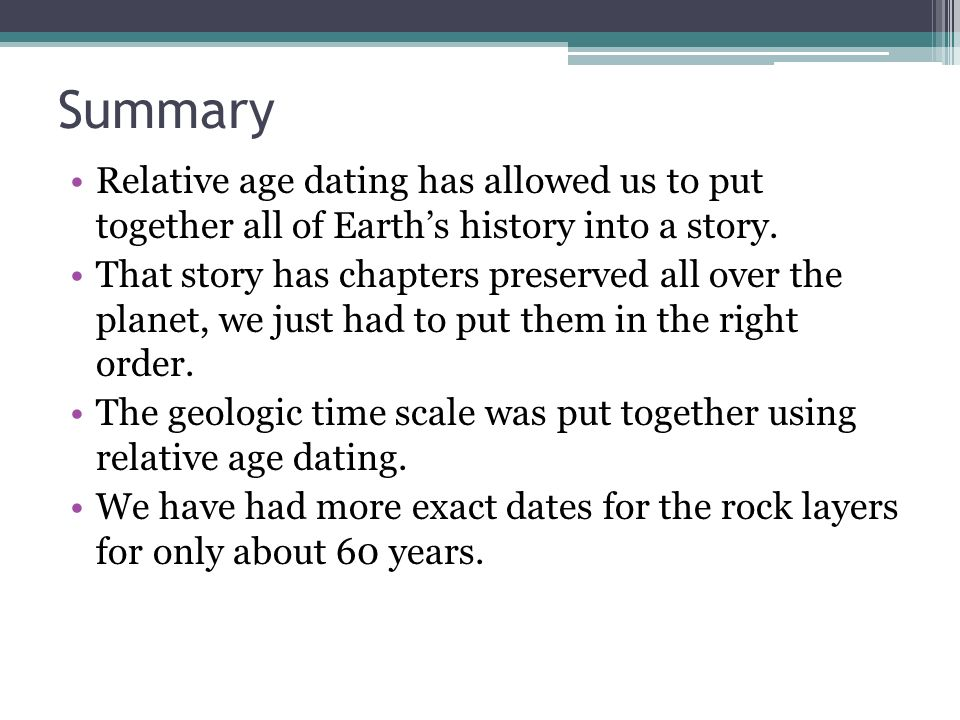 Relative age dating summary