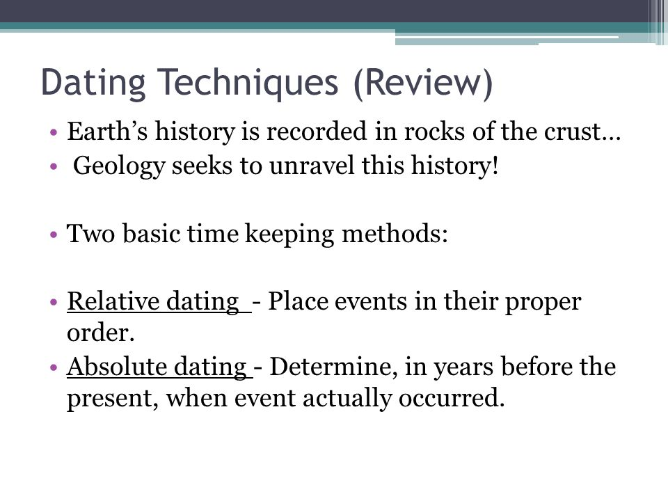History dating techniques