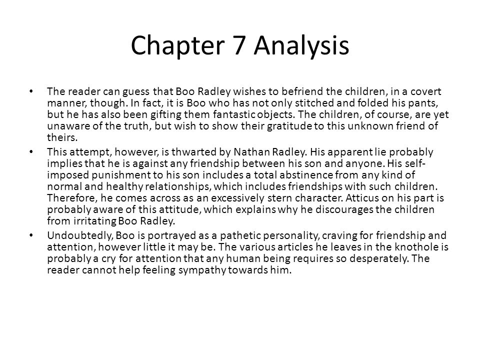 to kill a mockingbird cliff notes chapter 7