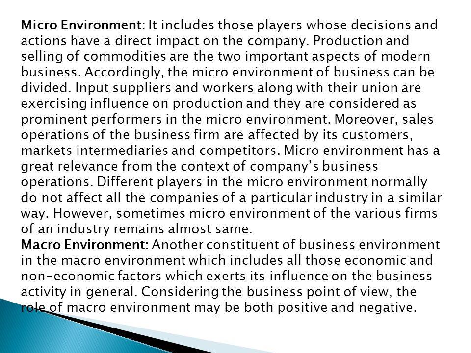 micro environmental factors that influence a business