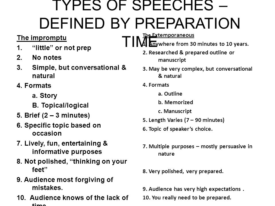 TYPES OF SPEECHES DEFINED BY PREPARATION TIME Ppt Download