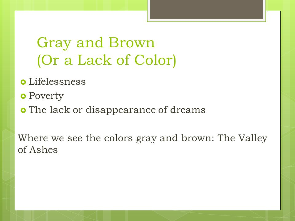 Color Symbolism In The Great Gatsby Ppt Video Online Download