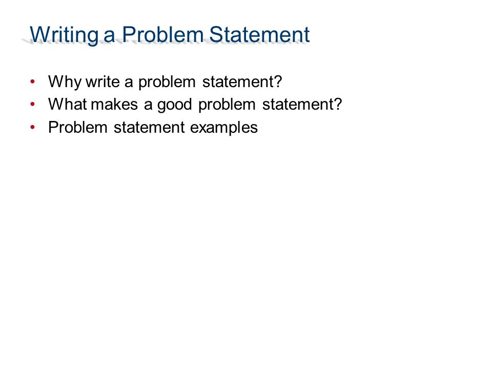 problem statement format example