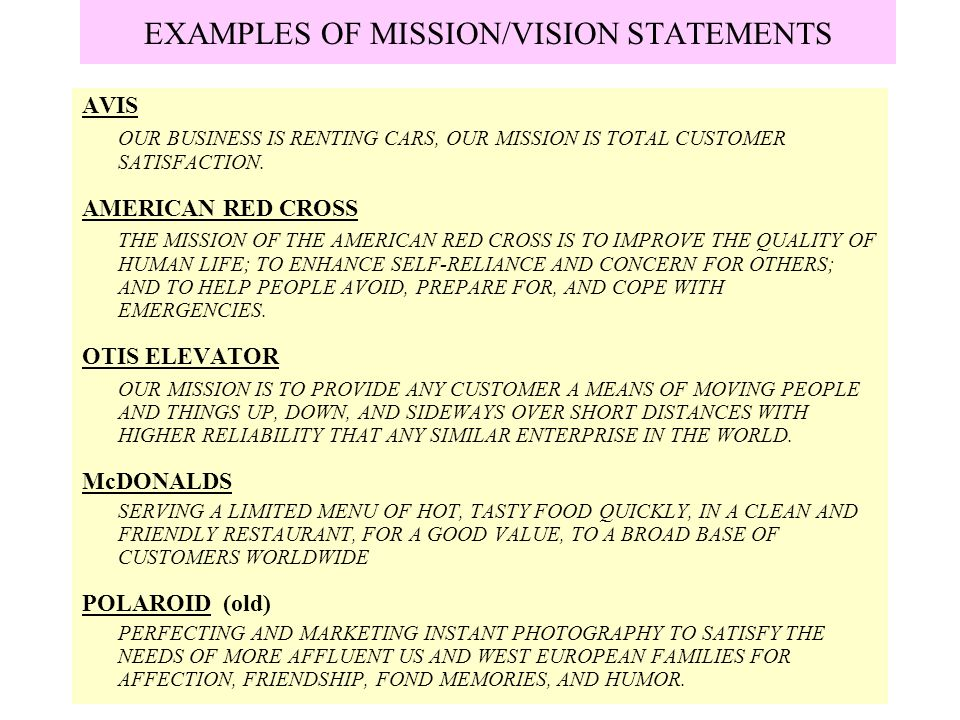 examples of vision missions and Use this guide to learn how to develop your strategy tips and real examples for writing your mission, vision and values for the strategy.