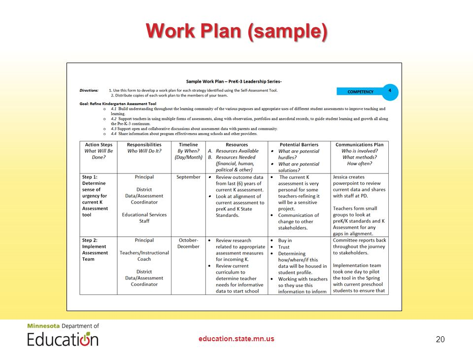 20 Work Plan Sample Educationstatemnus