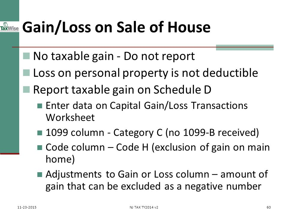 Capital gains losses including sale of home ppt download 60 gainloss ibookread ePUb