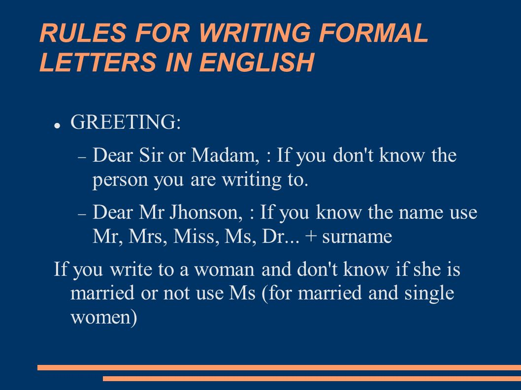 Formal letter ppt video online download rules for writing formal letters in english spiritdancerdesigns Choice Image
