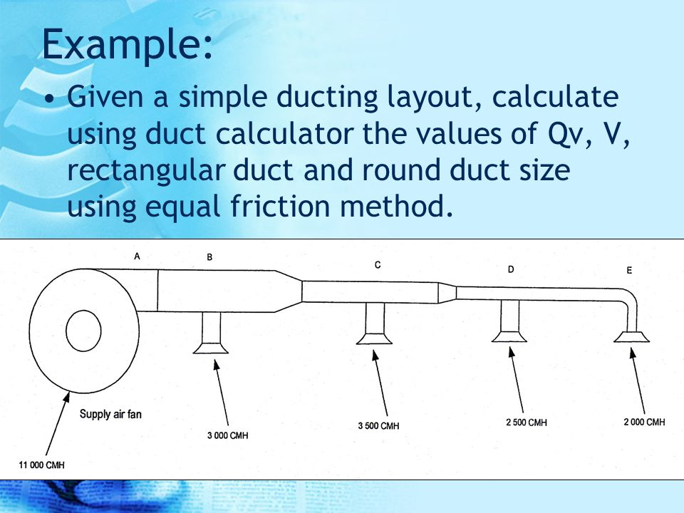 3 4 Equal friction method This method of sizing is used for