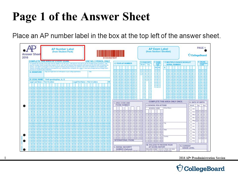 Please Note: Do not complete answer sheets for the following exams