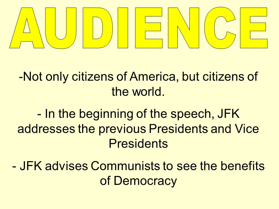 who was the audience of jfk inaugural address