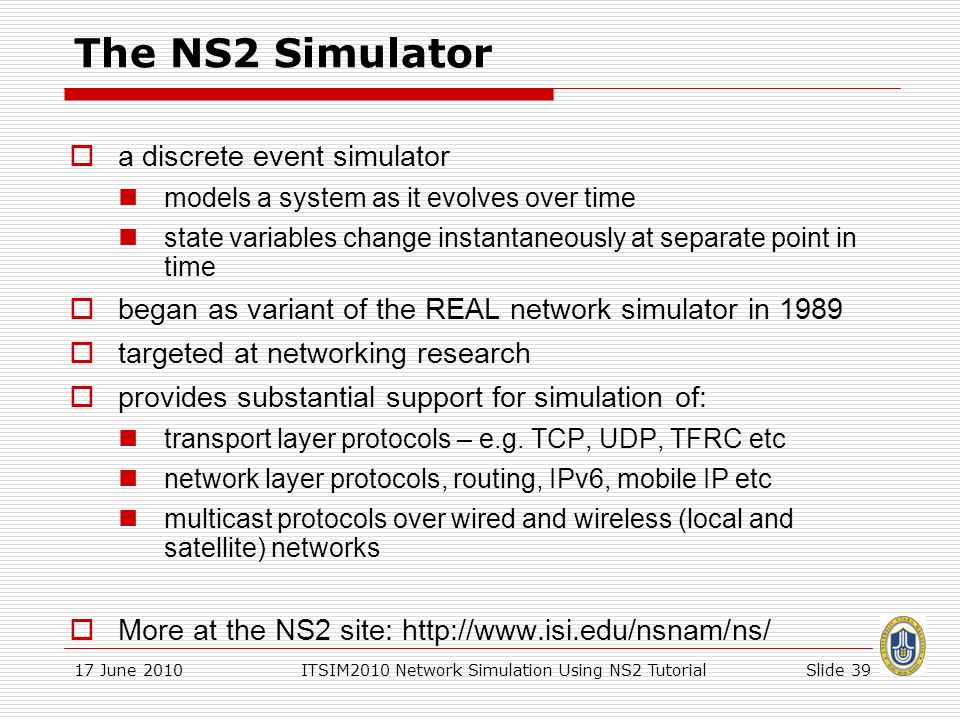 Network Simulation Using NS2 - ppt download