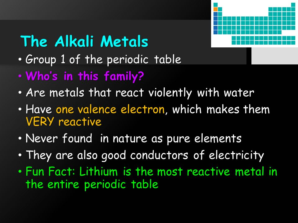 Element families ppt download the alkali metals group 1 of the periodic table whos in this family urtaz Gallery