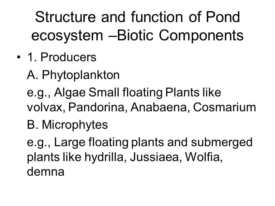 Structure and function of Pond ecosystem –Biotic Components
