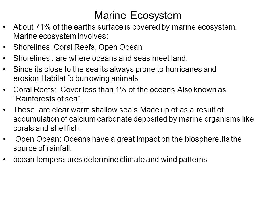 Marine Ecosystem About 71% of the earths surface is covered by marine ecosystem. Marine ecosystem involves: