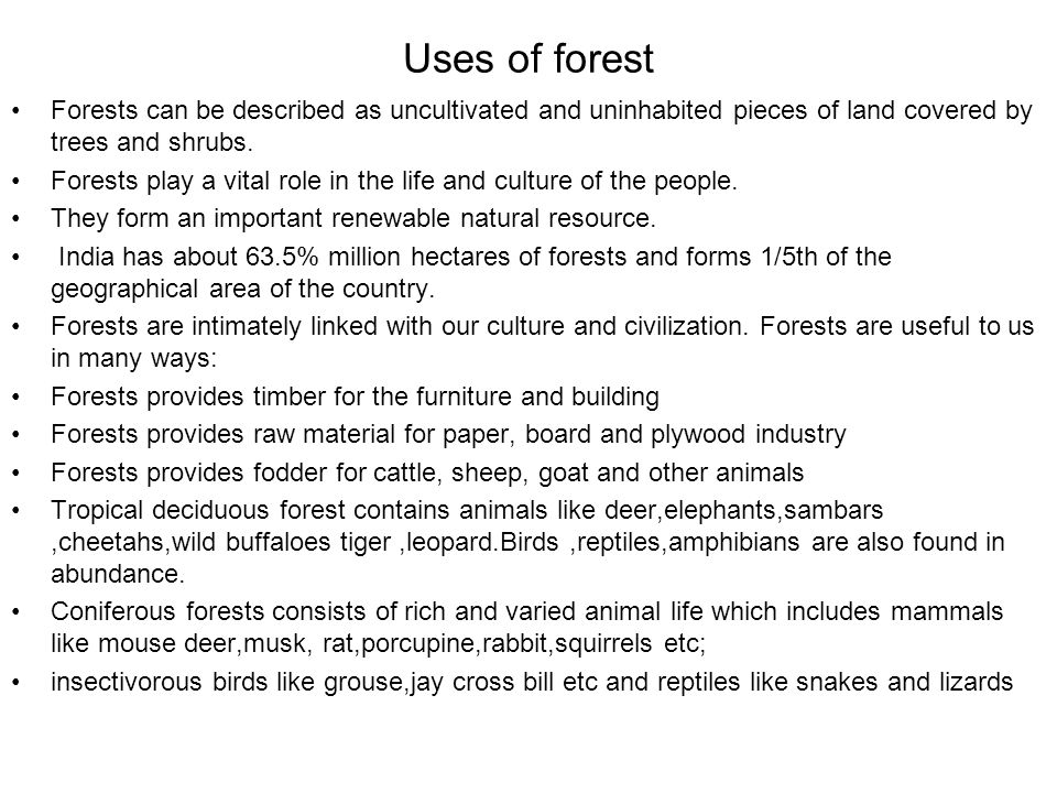 Uses of forest Forests can be described as uncultivated and uninhabited pieces of land covered by trees and shrubs.