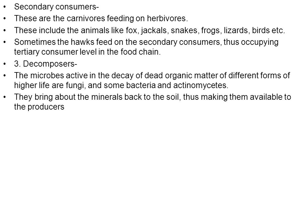 Secondary consumers- These are the carnivores feeding on herbivores. These include the animals like fox, jackals, snakes, frogs, lizards, birds etc.