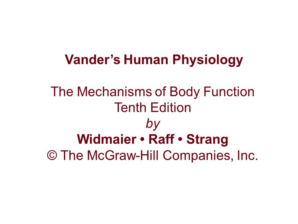 Vander S Human Physiology Widmaier Raff Strang Ppt Video