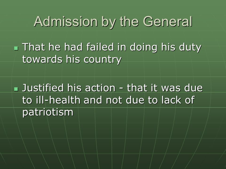 Admission by the General