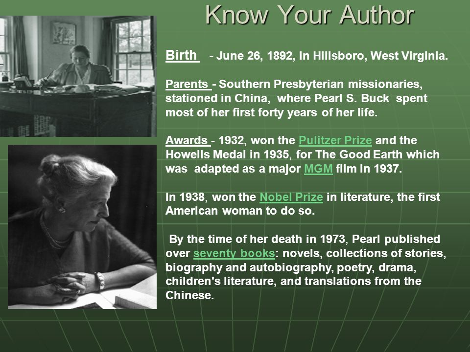 Know Your Author Birth - June 26, 1892, in Hillsboro, West Virginia.