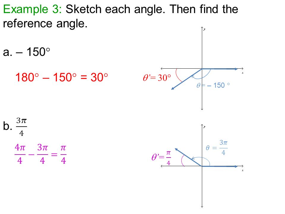 Warmup 3 Find The Measure Of Ppt Video Online Download. Exle 3 Sketch Each Angle Then Find The Reference A. Worksheet. Worksheet More Reference Angles At Clickcart.co