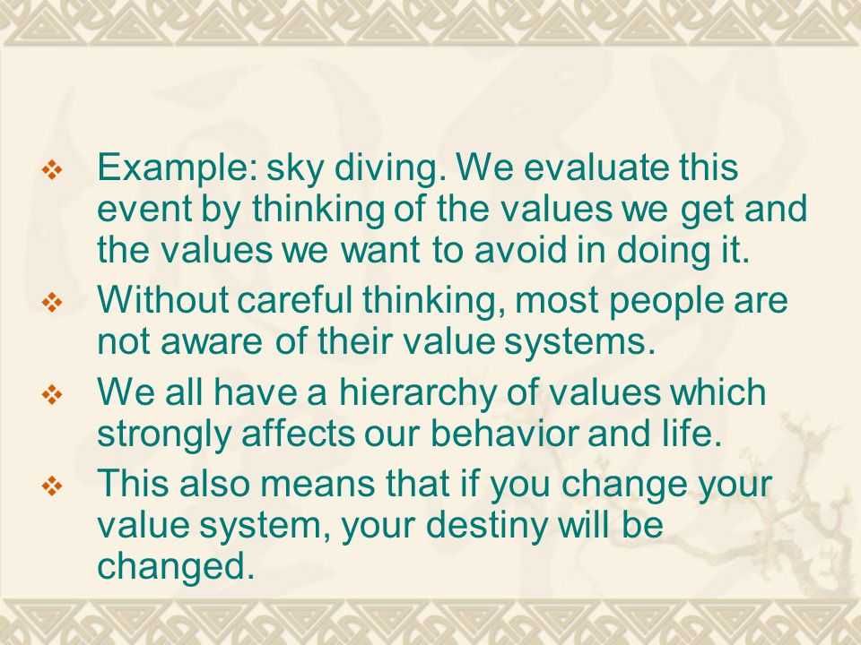 personal value system examples