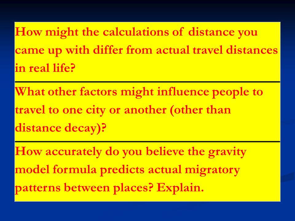 How might the calculations of distance you came up with differ from actual travel distances in real life