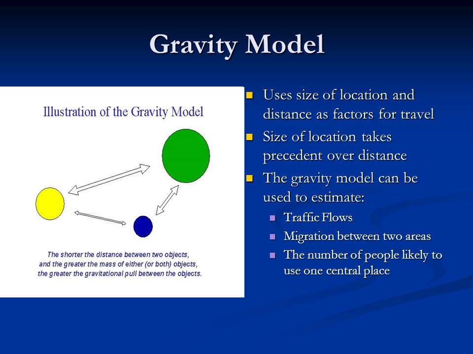 Gravity Model Uses size of location and distance as factors for travel