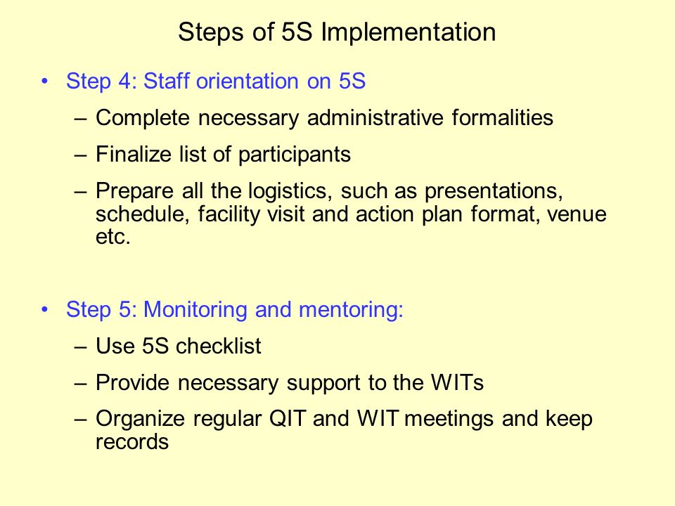 Steps of 5S implementation and Trainers' responsibilities