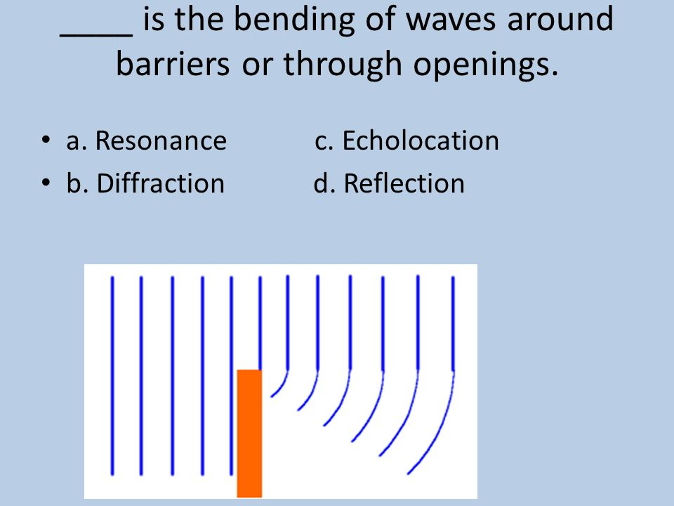 ____ is the bending of waves around barriers or through openings.