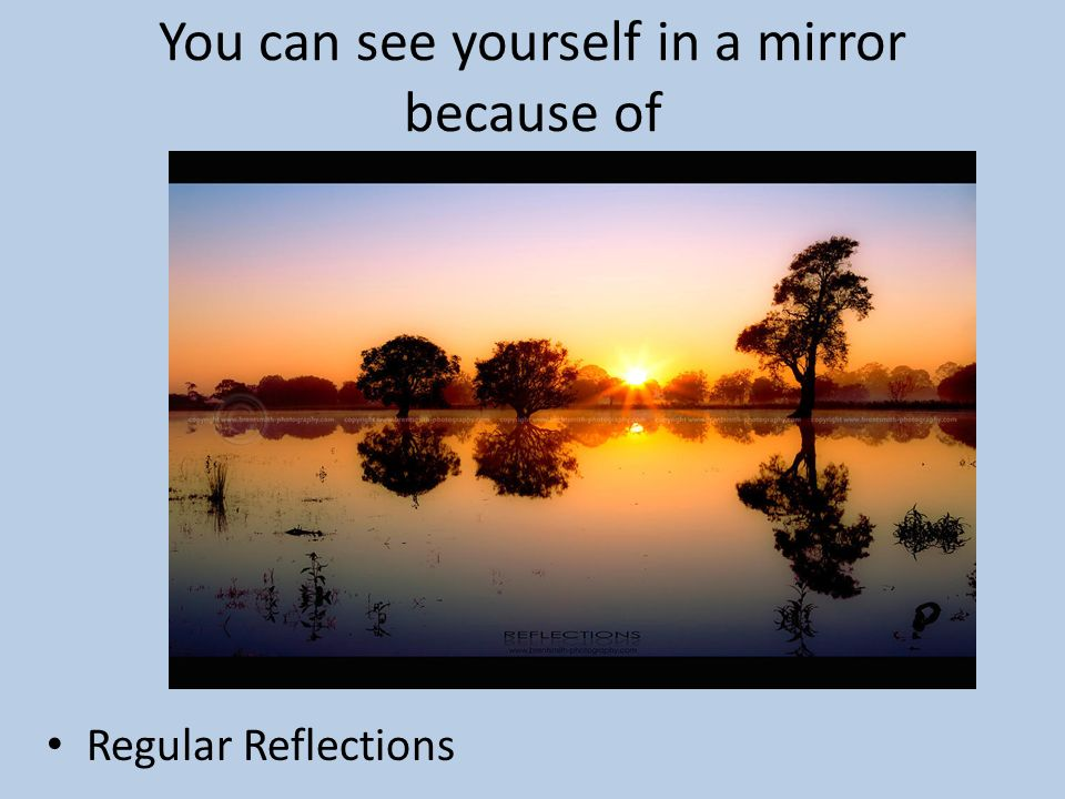 You can see yourself in a mirror because of