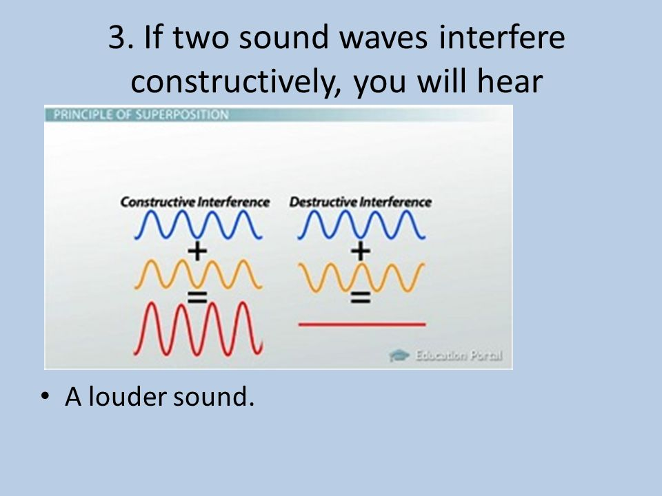 3. If two sound waves interfere constructively, you will hear