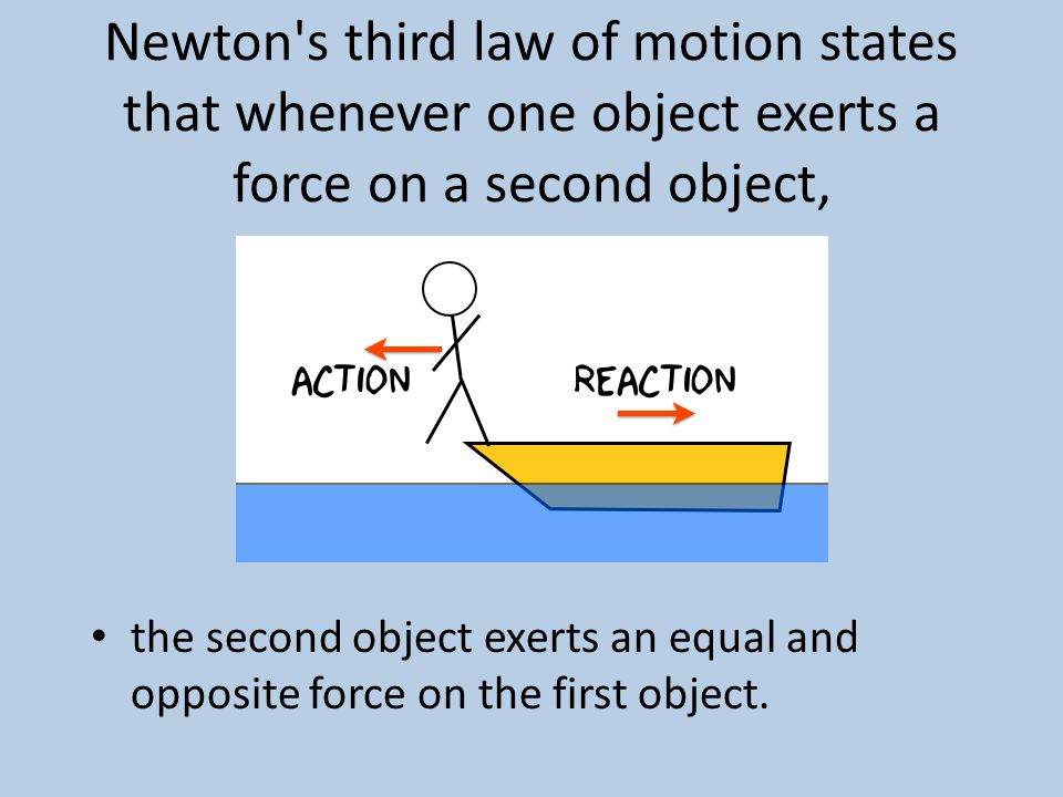 Newton s third law of motion states that whenever one object exerts a force on a second object,